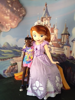 Maya with Sofia the First at Disney World this May