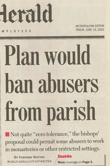 Plan would ban abusers from parish