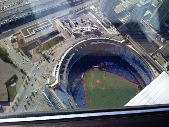 Looking down on the Rogers Centre from the restaurant atop Toronto's CN Tower.