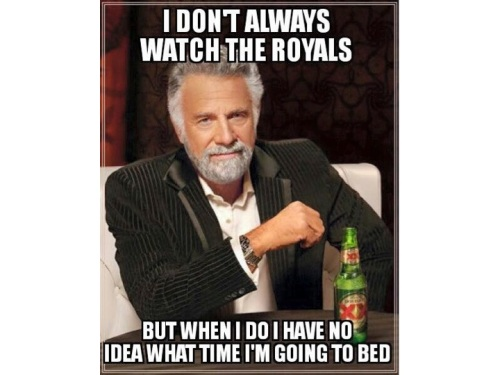 Perhaps it's because I enjoyed the Kansas City Royals' extra-inning heroics so much, but I thought this most-interesting-man meme was more effective. Certainly more clever than the Carson one using the same image.