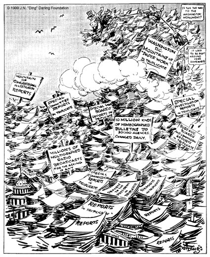 "This cartoon, with the caption, ""What a Place For a Waste Paper Salvage Campaign,"" won the 1943 Pulitzer Prize for Editorial Cartooning."