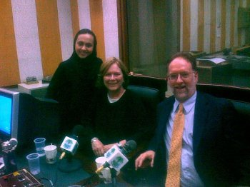 My travels at API included a trip to Saudi Arabia with Carol Ann Riordan, middle, with the host of a radio show who interviewed us.
