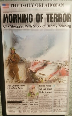 The front page of the Daily Oklahoman, displayed in the museum.