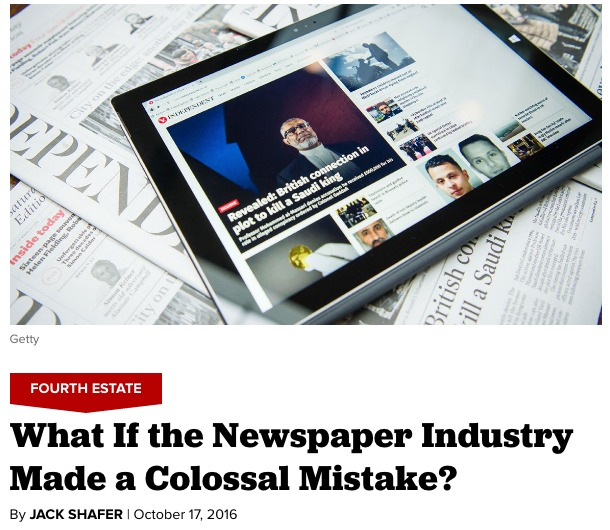Thumbnail for The newspaper industry's colossal mistake was a defensive digital strategy