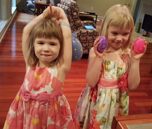 Madeline and Julia enjoyed an Easter egg hunt in our home.